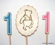 https://www.etsy.com/listing/228963514/classic-winnie-the-pooh-1st-birthday Classic Winnie the Pooh 1st Birthday Cake by PrettyPaperCottage