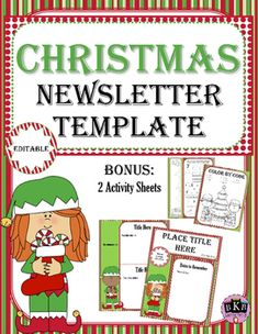 FREE Christmas Editable Newsletter Template   This is an editable newsletter template that you can use to send out classroom information, up coming events and much more.