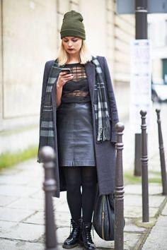 Leather, with plaid and dark, dark lipstick #streetstyle