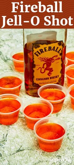 Fireball Jello Shot Fireball and Jello Shots are both party starters, so combining the two is a no-brainer. The recipe is similar to your standard Jello Shot: base spirit (in this case Fireball), orange-flavored Jell-O and a mix of cold and boiling water. Fireball Jello Shots, Easy Jello Shots, Jello Pudding Shots, Fireball Recipes, Jello Shot Recipes, Alcohol Drink Recipes, Orange Jello Shots, Fireball Cocktails, Salad Recipes