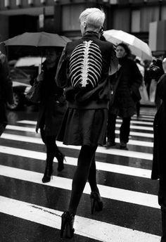 Kate Lanphear wearing her Nike MFG Destroyer on ave Photo by The Sartorialist, skeleton fashion The Sartorialist, Steampunk Lolita, Looks Style, Style Me, Black Style, Kate Lanphear, Mode Lookbook, Estilo Rock, Ellie Saab