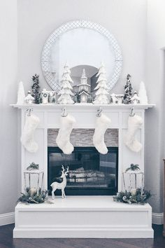 A Winter Party White Christmas Fireplace Decor White Christmas Fireplace Decor White Christmas . Diy Christmas Fireplace, Farmhouse Christmas Decor, Christmas Mantels, Christmas Home, Fall Fireplace, Fireplace Modern, Farmhouse Fireplace, Christmas Villages, Fireplace Mantel