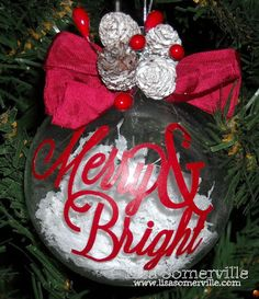 Merry and  Bright SVG is from the Silhouette Store, cut from Red Vinyl