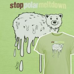 Just 2 left! Eco-friendly print on Bamboosa's super soft garment-dyed men's tees! Graphics designed by Artevist / Tees made by Bamboosa. This short sleeve classic style, with a full athletic cut and reinforcing tape in the neck and shoulders - will be a favorite for years to come. Polar Meltdown Men's T-Shirt – Our Greentopia