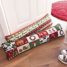 Cute pillows from drafts with your own hands, … - Modern Door Draught Stopper, Draft Stopper, Door Stopper, Christmas Pillow, Christmas Diy, Christmas Stockings, Fabric Door Stop, Easy Christmas Decorations, Table Runner And Placemats