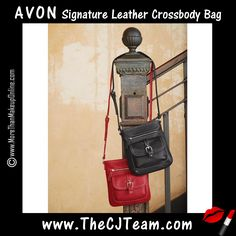 Signature Leather Crossbody Bag. Avon. Soft, pebbled-leather crossbody perfect for hands-free toting. One zip pocket and one snapclose flap pocket with faux-buckle on front. Inside: two slip and one zip pocket. NEW! Regularly $29.99.  #CJTeam #Avon #Style #Sale #Fashion #New #Purse #Tote #C12 #Leather #Crossbody FREE shipping with any $40 online Avon purchase.  Shop Avon fashion online @ www.TheCJTeam.com
