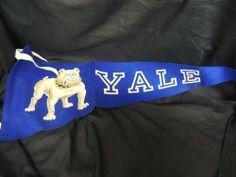 Vintage 60's Yale College Bulldog Mascot Felt Logo Excellent Ames Collegiate WOW