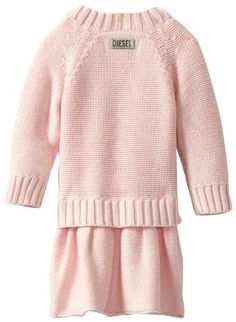 Diesel Baby-Girls Infant Dadoxib Long Sleeve Washed Knit Sweater Dress, Neon Pink, 6 Months  - Click image twice for more info - See a larger selection of little girl special ocassion dresses at http://girlsdressgallery.com/product-category/special-occasion-dresses/- kids, toddler, kids dresses, little girls, dress, gown, little girls fashion, gift ideas, flower girl, wedding, party dress
