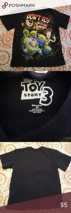 😊 Disney Toy Story 3 Size 3T Shirt 😊 Black tee shirt from Disney in good condition!  (ALL of my closet items were purchased new for my family's personal use) Disney Shirts & Tops Tees - Short Sleeve