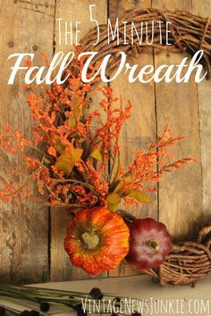 Easy Five Minute Fall Wreath from Vintage News Junkie