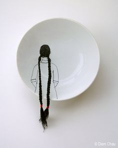 Diem Chau works with porcelain and thread to create works of quiet inspiration
