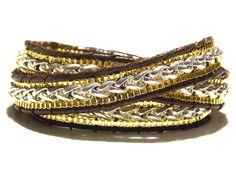 Gold & Silver 3 Wrap Chains Bracelet