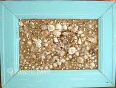 shell collage This is so cool, I'm gonna make this and just glue the shells and sand right on the glass!