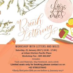 Finally after so much organising checking for best venue and making the best materials for you here is my workshop! . Join me let's letter together from all the basics strokes to making a quote as the final project that you can frame as your work of art Details are on the post . Psstt early bird prize of 300k if you book your seat before next Friday! . Shoot me your questions and book your seat via WhatsApp Line or text on 62 788 1570 643 . Mari belajar Lettering yuk! Details di post ya…