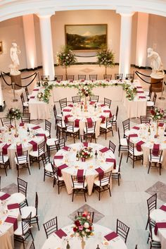 burgundy wedding University of Michigan Museum of Art head table with merlot and ivory accents Wedding Reception Planning, Wedding Reception Table Decorations, Wedding Table Settings, Wedding Head Tables, Wedding Ideas, Wedding Events, Winter Wedding Centerpieces, Wedding Stage, Wedding Rustic