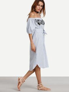 Blue Vertical Striped Off The Shoulder Embroidered Dress