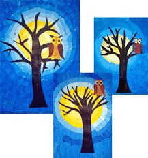 owl before the moon painting of two drawing sheets with yellow or blue tones … - Winter Art Art Education Lessons, Art Lessons, Autumn Art, Winter Art, Fall Crafts, Arts And Crafts, School Images, Drawing Sheet, Moon Painting