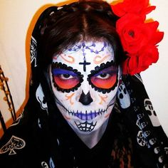 "Sunset Sugar Skull Halloween makeup. Dia de Los Muertos, ""La Catrina"", inspired."
