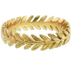 Laurel Band - 22 Karat Gold ($2,090) ❤ liked on Polyvore featuring jewelry, rings, bracelets, none, gold bracelet ring, stackable band rings, stackable rings, yellow gold band ring and leaf ring