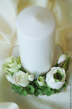 Купить Подсвечник (свеча), с цветами из полимерной глины - подсвечник, свеча, цветы ручной работы
