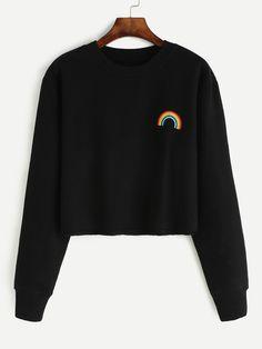 Black Rainbow Embroidered Crop Sweatshirt Mobile Site