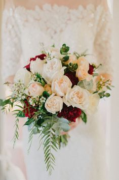 Wedding Flowers Romantic wedding bouquet with white and peach roses, burgundy carnations and soft green foliage Church Wedding Flowers, White Wedding Flowers, Red Wedding, Floral Wedding, Perfect Wedding, Wedding Colors, Rustic Wedding, Fall Wedding, Wedding Reception