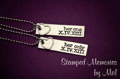 Her One, Her Only - The Original - Lesbian Couples Jewelry - Hand Stamped Stainless Steel LGBT Necklace Set - Sterling Silver - Anniversary