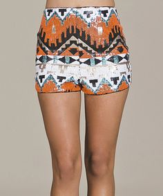Look at this Jealous Tomato Orange & White Tribal Sequin Shorts on #zulily today!
