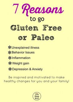 Is cutting out gluten just a fad? Here I'll share the top 7 reasons to go gluten free or Paleo! Sin Gluten, Gluten Free Diet, Gluten Free Recipes, Dairy Free, Get Healthy, Healthy Tips, Healthy Foods, Healthy Eating, Full Body Cleanse Detox