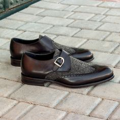 Custom Made Single Monks in Black Painted Calf Leather with Wool Nailhead and Nickel Buckle Custom Made Shoes, Custom Design Shoes, Me Too Shoes, Men's Shoes, Dress Shoes, Shoes Men, Shoe Game, Calf Leather, Fashion Boutique