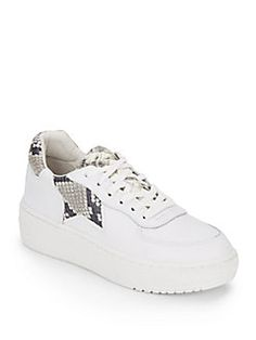 ASH Fool Snake-Print Trimmed Leather Platform Sneakers. #ash #shoes #sneakers