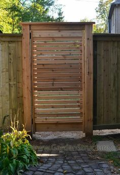 A Unique Toronto Fence with Horizontal Gates Horizontal gate and fence plans with design for fence Wood Fence Gates, Wooden Garden Gate, Fence Gate Design, Fence Doors, Garden Gates, Fence Art, Fencing, Dog Fence, Stone Fence