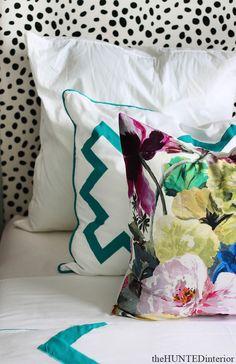 Spotted Headboard   Bang Bang Duvet & Shams   Orangerie Pillow