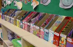 this webpage has so many great storage ideas and organization tips for the classroom! And are those cereal boxes repurposed as book bins? Classroom Setting, Classroom Setup, Classroom Design, Art Classroom, Future Classroom, School Classroom, Book Boxes Classroom, Classroom Organisation, Teacher Organization