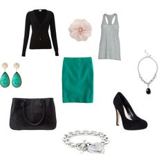 Black, grey, and teal..  Wonder if an aline skirt would work instead of the pencil.