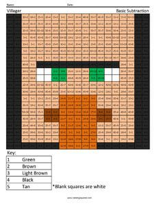 Minecraft Villager- Basic Division color the squares
