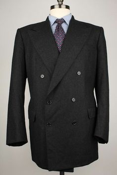 Alba Charcoal Grey 100% Cashmere Double Breasted 44 R mens Sport Coat Blazer