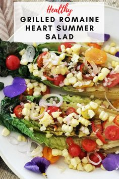 Get ready for summer with this delicious grilled romaine heart salad. The sweetness of the cherry tomatoes contrasts with the super easy to make vinaigrette dressing. I don't usually grill lettuce… Romaine Hearts Recipe, Grilled Romaine Hearts, Easy Appetizer Recipes, Healthy Salad Recipes, Healthy Dinners, Dinner Recipes, Clean Eating Salads, Clean Eating Chicken, Summer Bbq