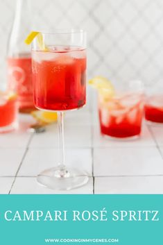 Made with just 3 ingredients, this Campari Rosé Spritz is a beautiful, vibrant cocktail made for the summer season. Easy Cocktails, Summer Cocktails, Fun Drinks, Cocktail Recipes, Beverages, Easy Drink Recipes, Real Food Recipes, French 75 Cocktail, Pancetta Pasta