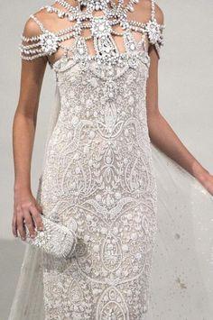 Diamante Trim Fabric / Marchesa / Article: Choosing your Wedding Dress Fabric / Wedding Style Inspiration / LANE (instagram: the_lane)