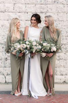 olive bridesmaid dresses - photo by B.Matthews Creative http://ruffledblog.com/organic-italian-inspired-wedding-ideas #weddingphotography