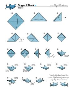 Fold Your Own Origami Shark At Home- dyjan Origami Shark, Instruções Origami, Origami Simple, Paper Crafts Origami, Origami Folding, Easy Oragami, Origami Plane, Origami Instructions, Origami Tutorial