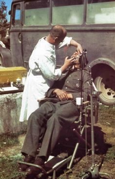 A Civilian Buss used by some lucky Wehrmacht units for a dentist to travel about to work on soldiers where needed in field conditions