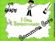 Common Core I Can Statements 5th Grade Rock and Roll Theme!