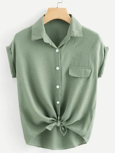 Cheap blouse green, Buy Quality blouses work directly from China blouse long Suppliers: Dotfashion Rolled Cuff Button Knotted Hem Shirt Womens Tops And Blouses Summer Tops For Ladies 2019 Casual Short Sleeve Blouse Summer Shirts, Summer Tops, Style Blogger, Shirt Cuff, How To Roll Sleeves, Green Fashion, Plus Size Blouses, Short Sleeve Blouse, Types Of Sleeves