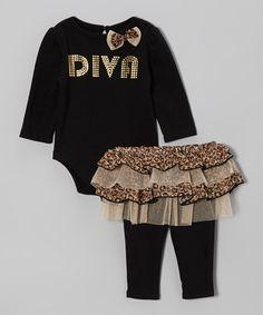 Black 'Diva' Bodysuit & Skirted Leggings - Infant
