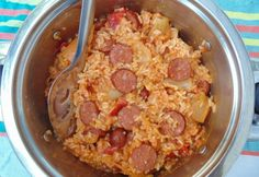 Spicy sausage with rice and Ratatouille Spicy Sausage, Ratatouille, Oatmeal, Breakfast, Food, Rice, The Oatmeal, Morning Coffee, Rolled Oats