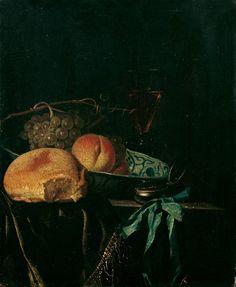 Juriaen van Streeck, STILLEBEN MIT BROT, FRÜCHTEN UND TASCHENUHR., Auktion 874 Alte Kunst, Lot 748