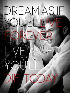 James Dean  Marilyn Monroe, dream as if you'll live forever...art prints by brailliant.