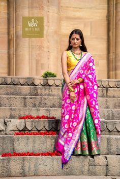 Warp 'n Weft Minakari Benarasi Lehenga on the ghats of Ganga Color Trends, Lehenga, Ethnic, Weaving, Sari, Textiles, Colours, Indian Weddings, Elegant